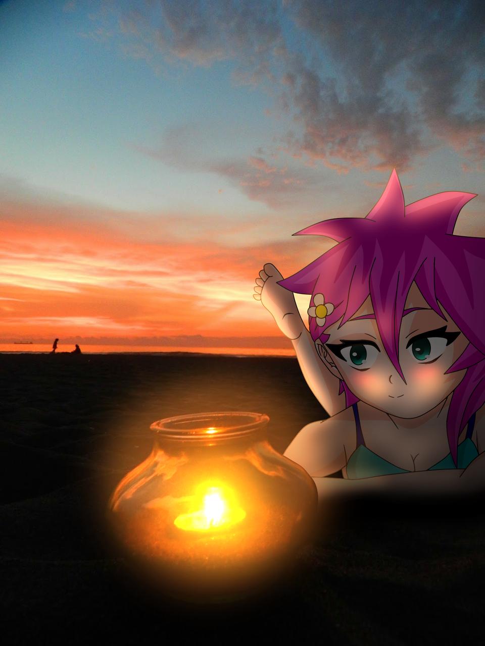 Rosa en la playa