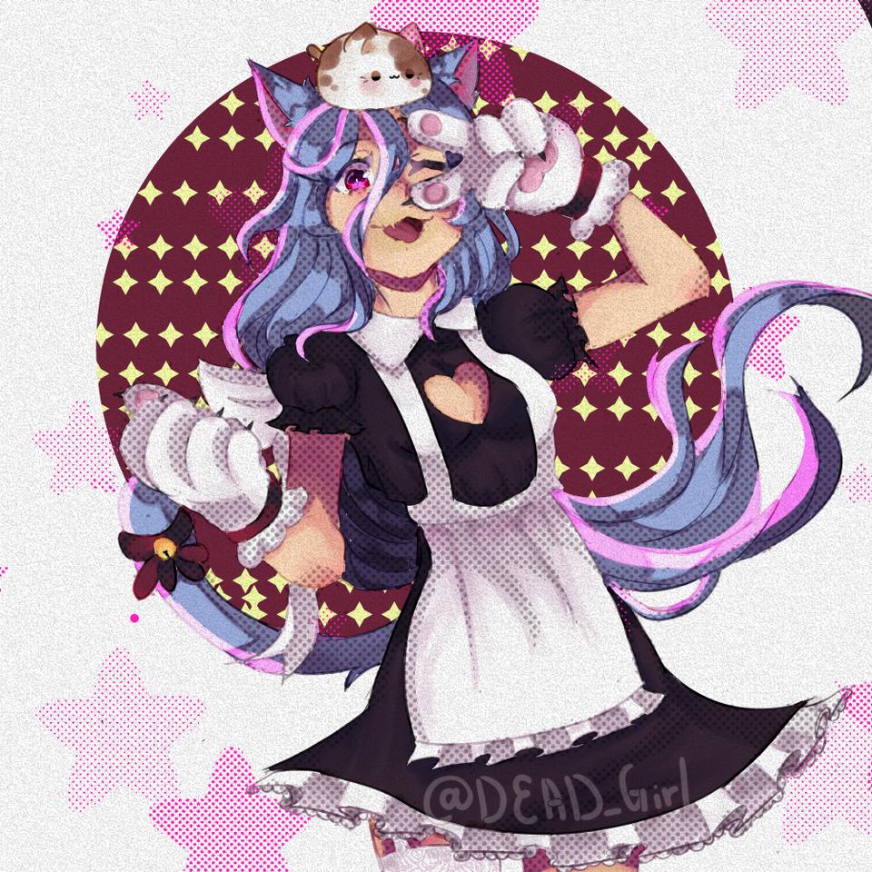 Your kitty maid is  here~! [Youtキティメイドは~!] Illust of @DEAD_girl (Estela fox) medibangpaint maid animal_ears girl