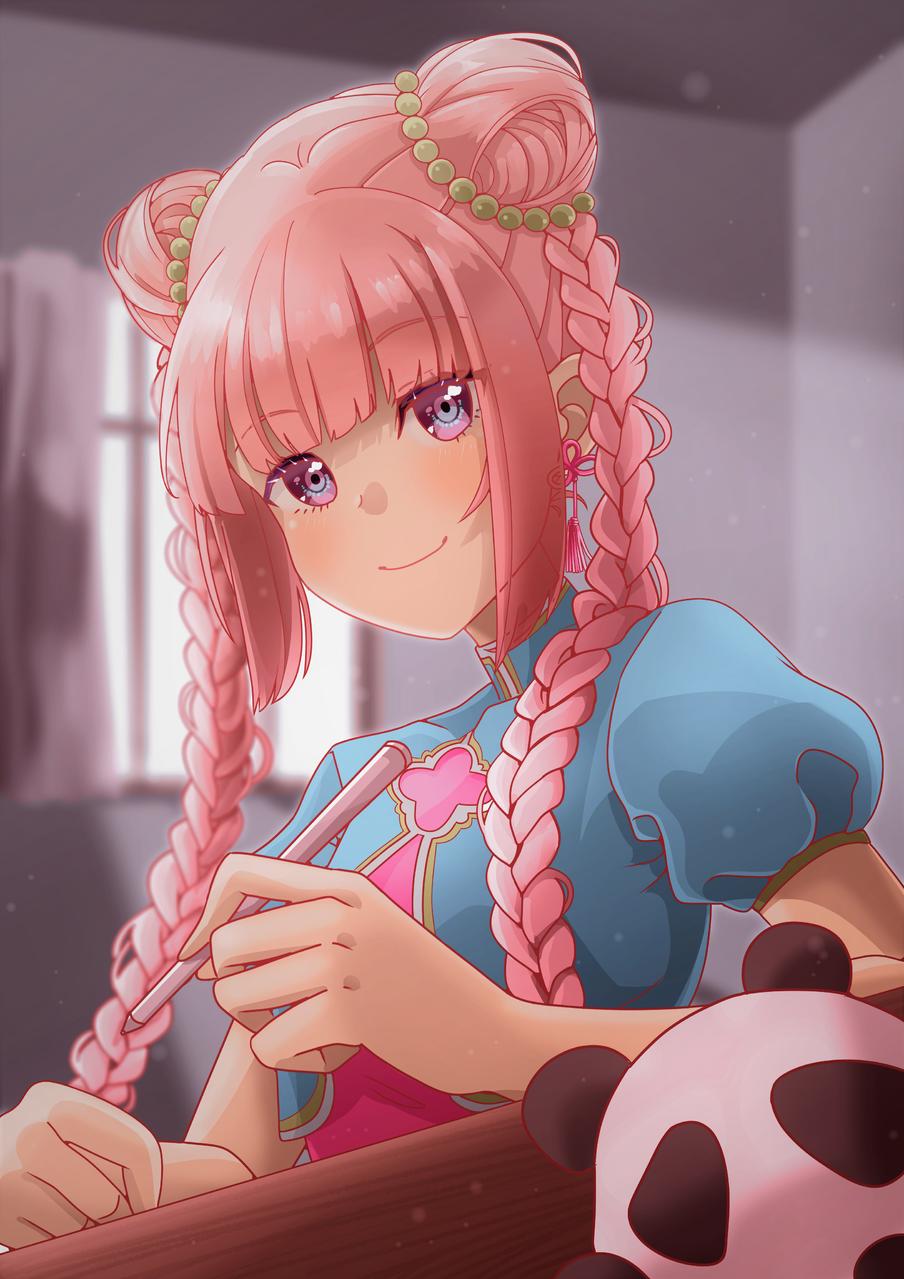 Mei Illust of Akira Luca General_Election_Mei MediBang_General_Election drawing girl braids digital pink fanart smile cute