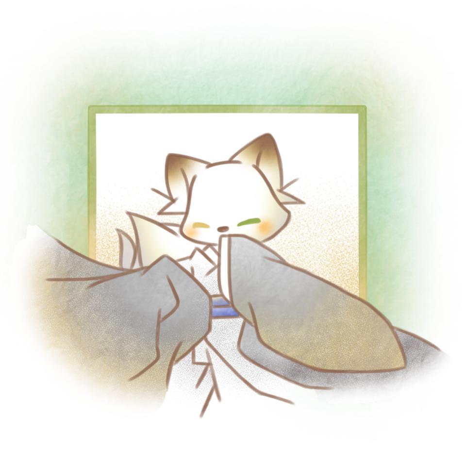 和服オッドアイな白狐さん。 Illust of 兎卯子 original animal 小動物 digital Japanese_style fox