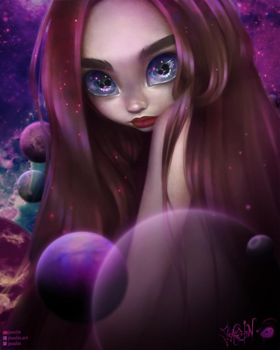 Galaxy 🌍🌖 Illust of JoAsLiN ARTstreet_Ranking art painting galaxy manga original girl eyes oc cute