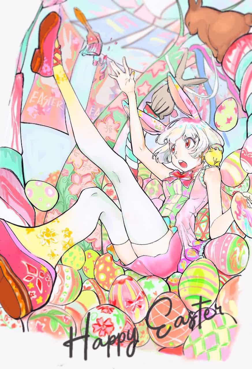 Amongst The Easter Eggs Illust of Kawazoe Kiko April.2020Contest:Color March.2020Contest:Easter ARTstreet_Ranking oc girl illustration 复活节