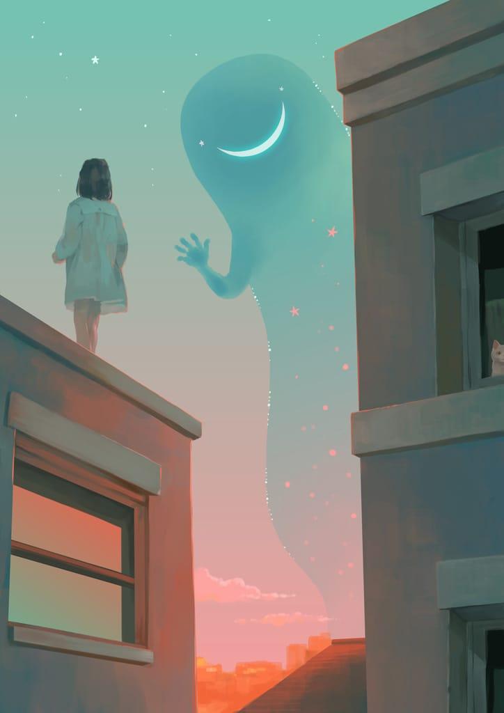 三日月入道 Illust of 砂虫隼 fantasy March2021_Creature cat キラキラ original sky girl monster moon