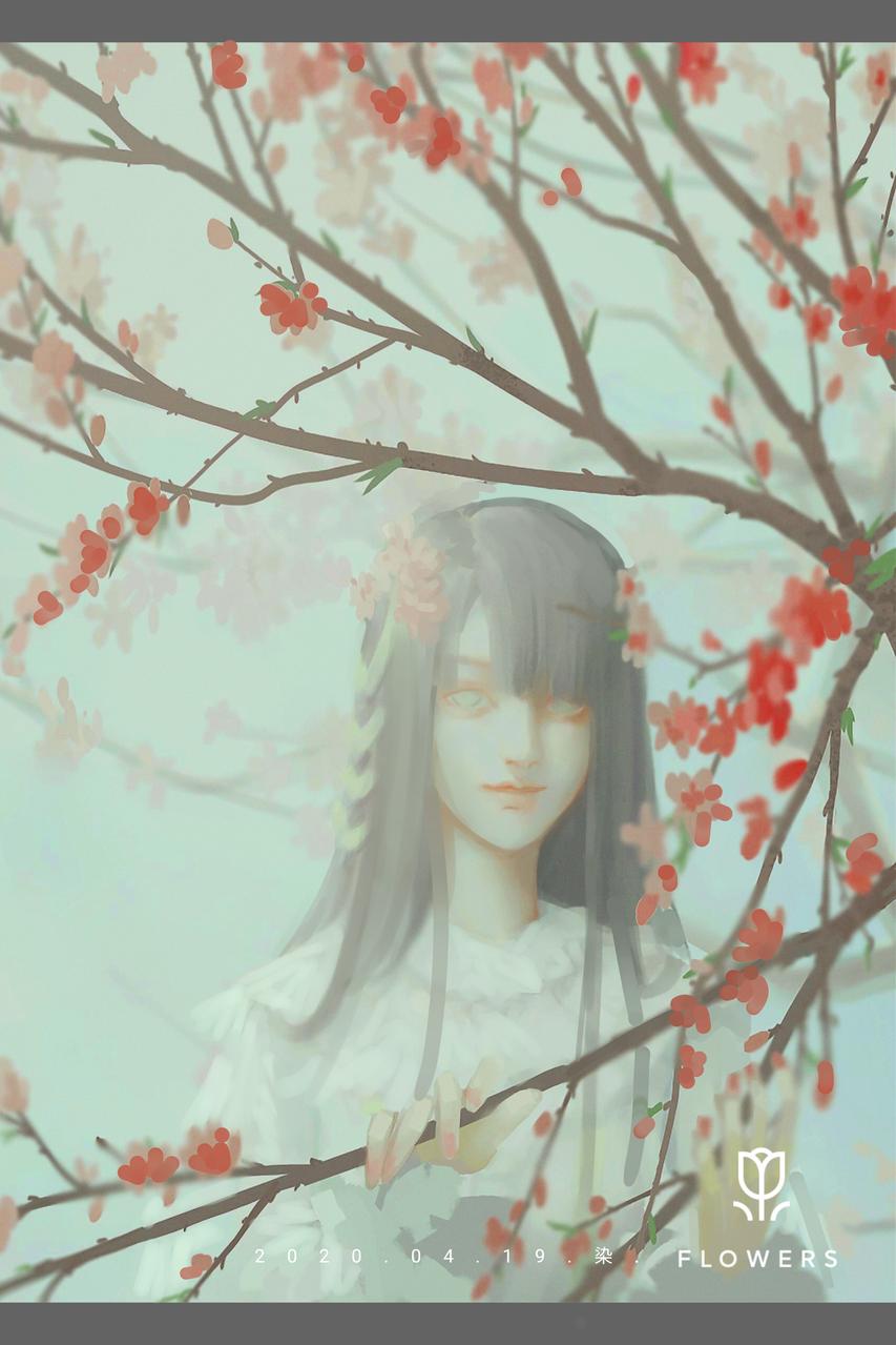 桃花林中的少女 Illust of 染经年 April2021_Flower flower girl 春天 original 桃花