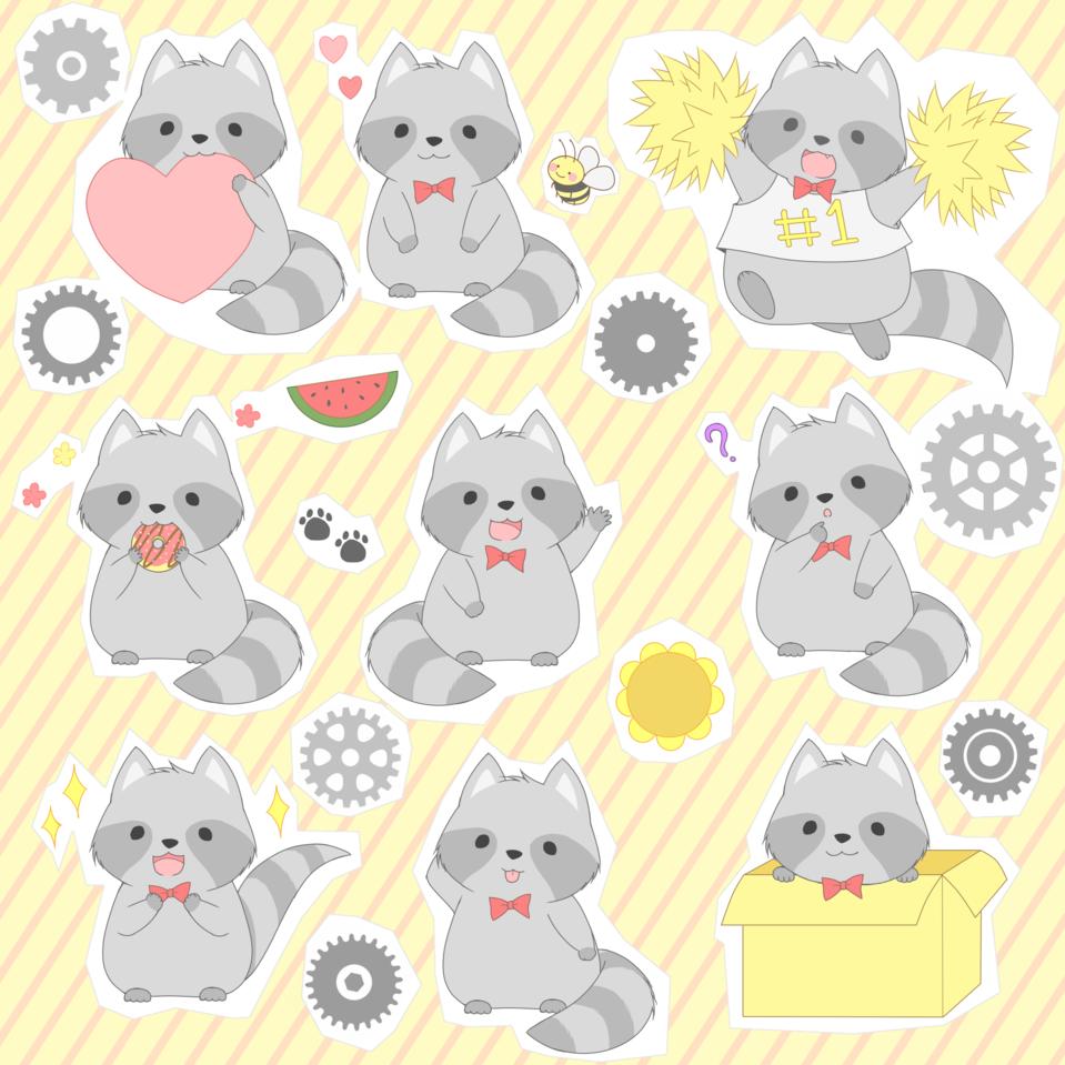 Ri-chan  Stickers X3  Illust of B e e 48...🐝 kawaii cute Raccoon digital stickers