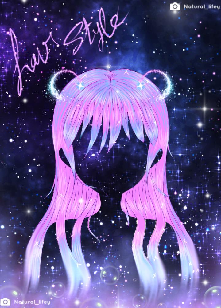 🦄 shiny neon space  Illust of NATURAL LIFEY 🖤 June2021_Anthropomorphism MasterpieceFanart May2021_Monochrome ponytail virtual_YouTuber illustration fanart cute art woman Drawings drawing manga anime sketch