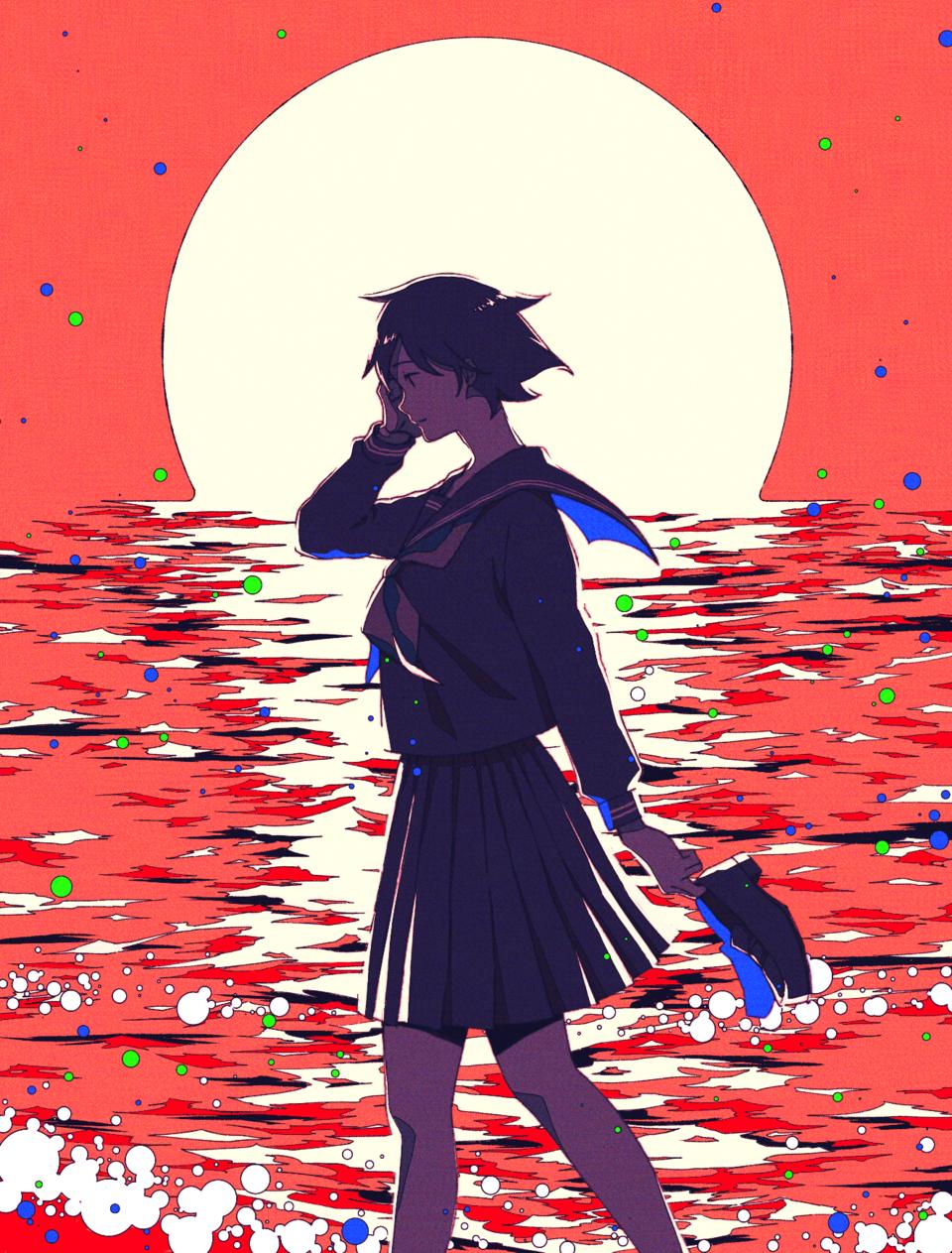 僕の恋は、夕日と共に溶けてしまいそうだった。 Illust of KaiRa April.2020Contest:Color