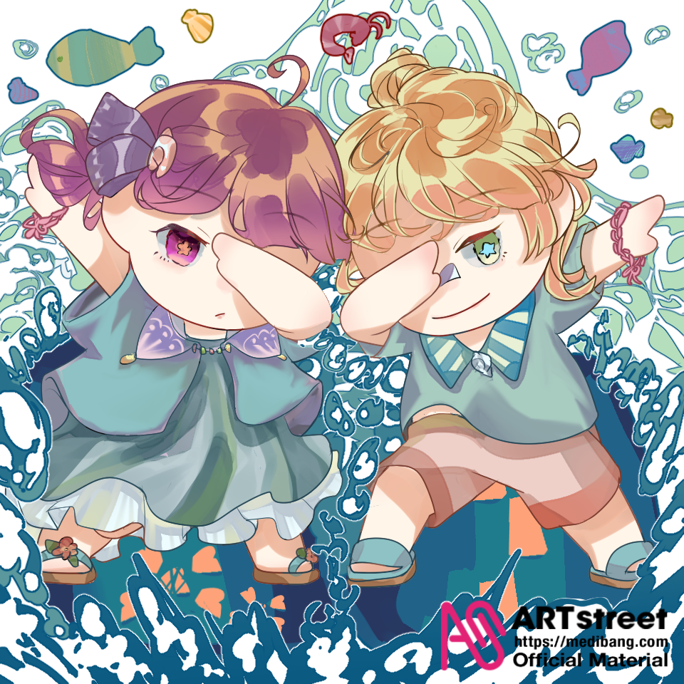 Surfing partner Illust of auk tracedrawing2 sea original Trace&Draw【Official】 chibi
