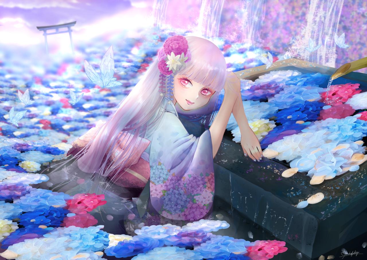 紫陽花天国 Illust of もかふしぎ Kyoto_Award2020_illustration 鳥居 kimono hydrangea girl