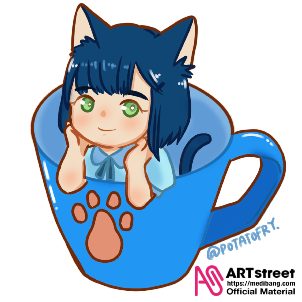 kitten in cup Illust of popatofry tracedrawing3rd Trace&Draw【Official】 THELEGENDOFHEI