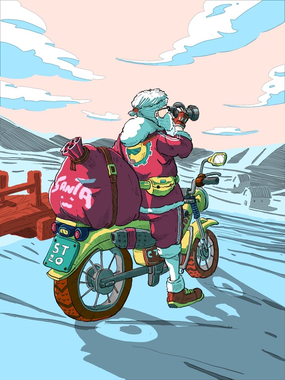 BADASS SANTA Illust of Wutikai December2020_Contest:Santa November2020_Contest:Cyberpunk Christmas sky landscapes Japanese_style motorcycle scenery red Santa motorbike hill Badass