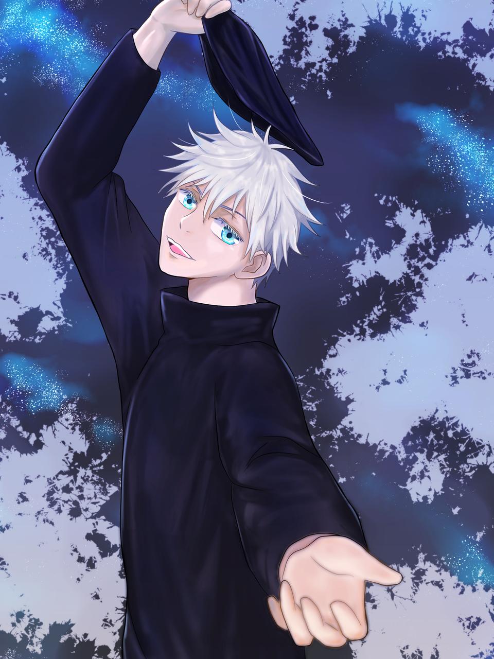 五条悟ファンアート Illust of chiwo JujutsuKaisenFanartContest white_hair fanart イラスト好きな人と繋がりたい 青い瞳 クール SatoruGojō JujutsuKaisen