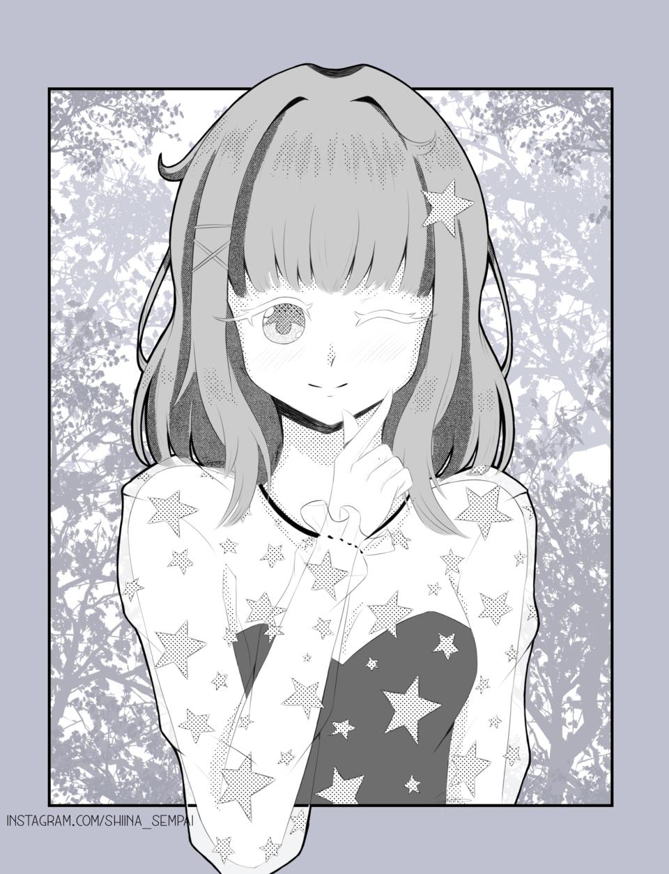 Request 2 Illust of Shiina Sempai manga screentones