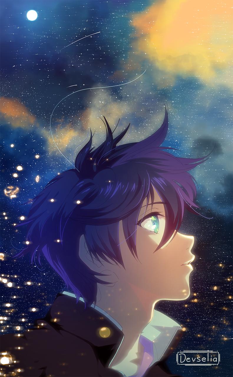 Stargaze Illust of Devselia illustration MyArt blue oc boy anime sky star night original