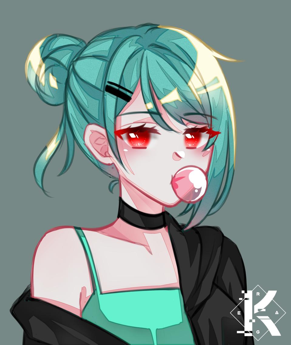 Chewy bubblegum~ Illust of Kagera medibangpaint bubblegum anime greenhair