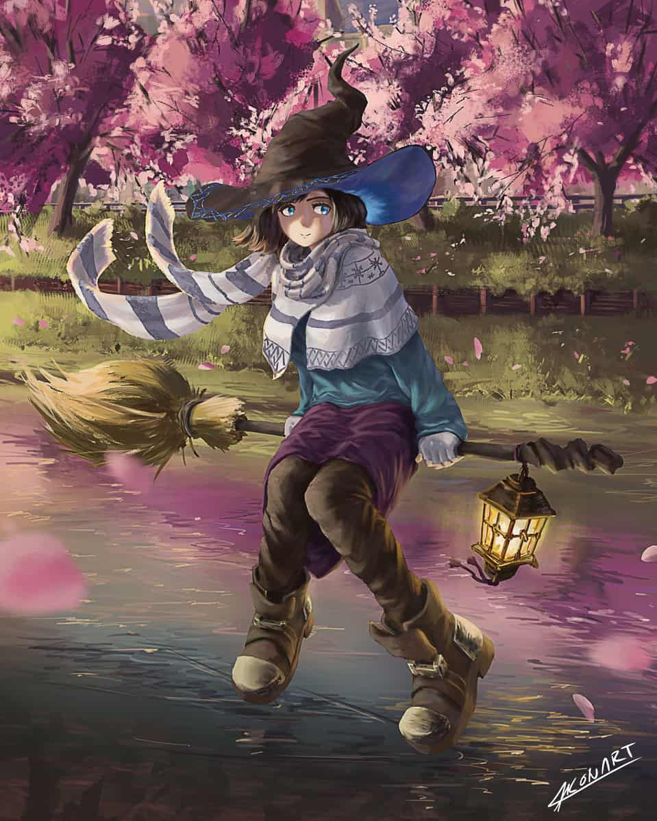 Flying Witch Illust of Konart illustration witch oc cute anime girl digital original