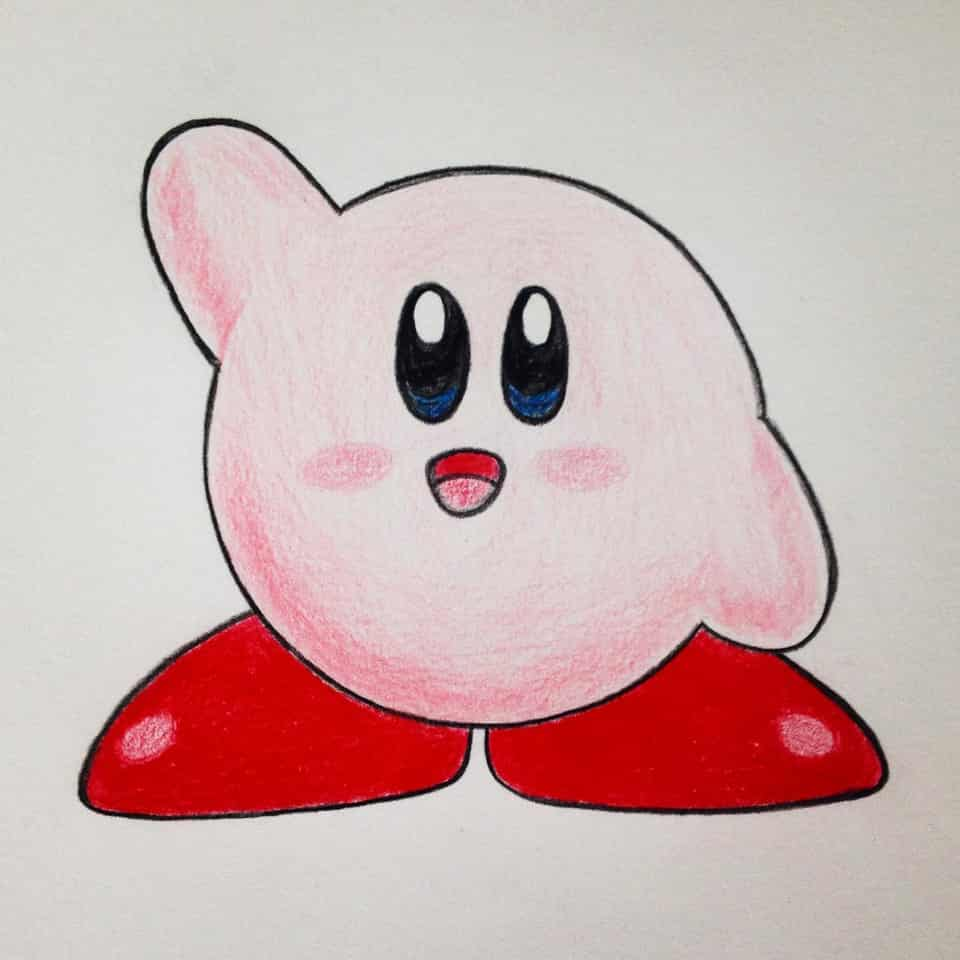 Kirby, right back at ya!! Illust of Rue Lee drawing coloredpencil Nostalgia childhood art fanart KirbyFanart kirbyfancharacter Kirby