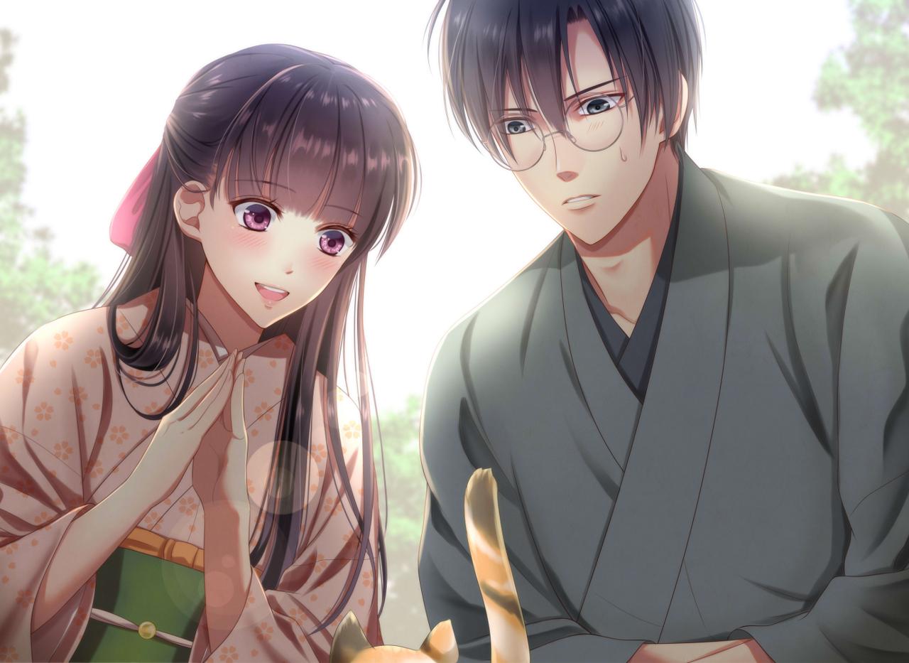 「まぁ、かわいい!」 Illust of 瑠璃森 しき花(元izumi) 青年 couple Japanese_style glasses kimono 男女 一次創作 和装 girl cat