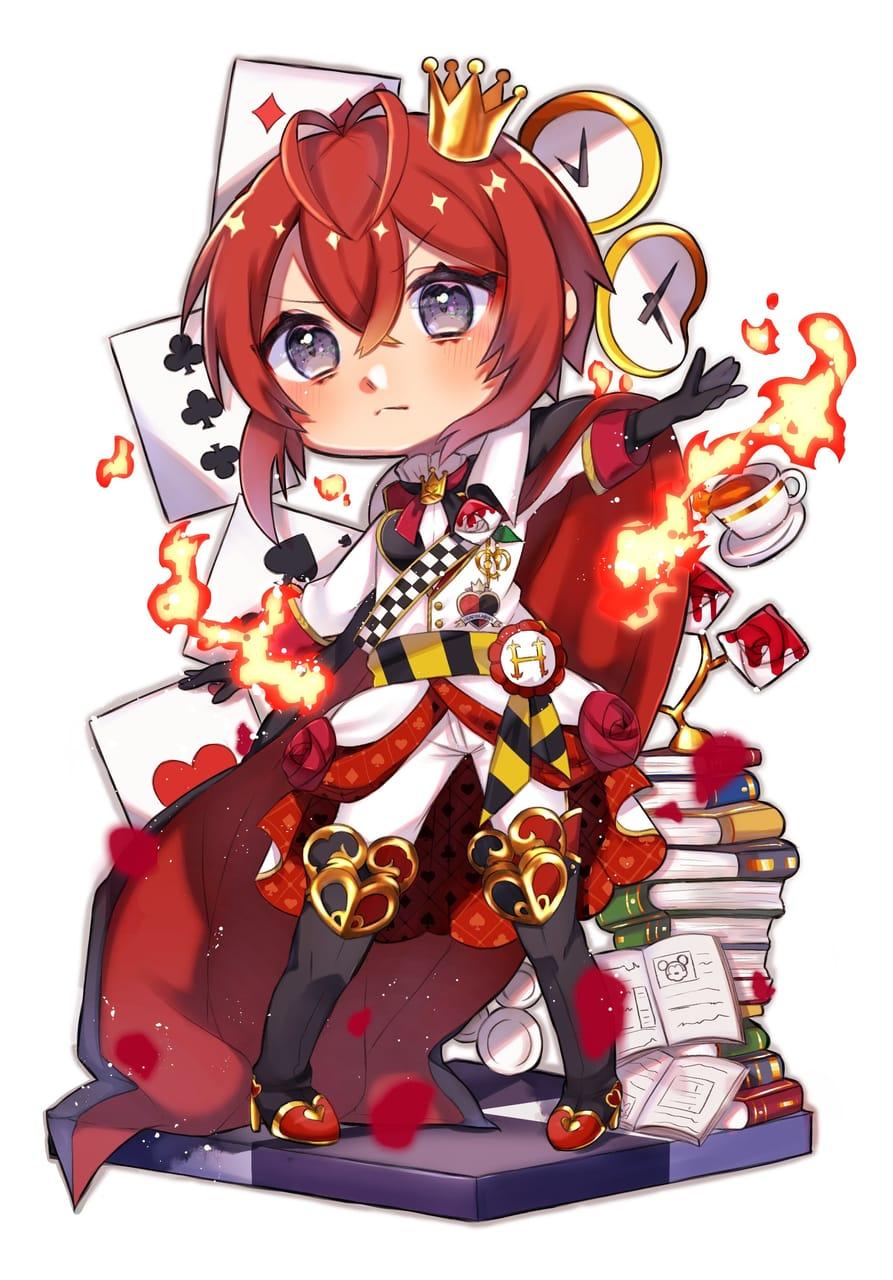 リドル寮長🌹 Illust of 紀音 medibangpaint illustration RiddleRosehearts Twisted-Wonderland chibi FloydLeech