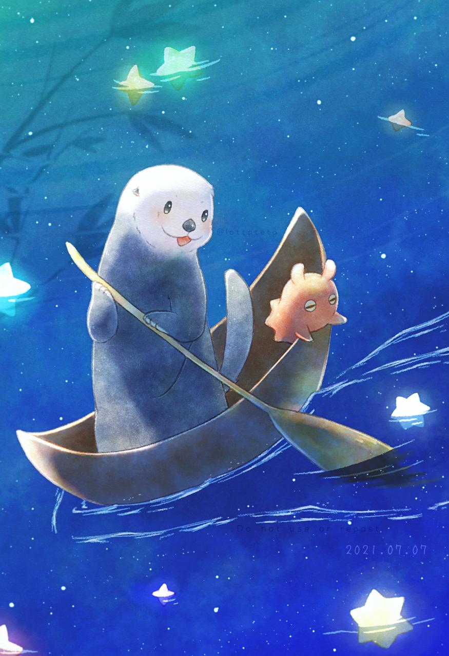 天の川を渡る Illust of shin summer 星屑入り江のロッタテタ animal メンダコ 海洋生物 original 生き物 ラッコ 七夕