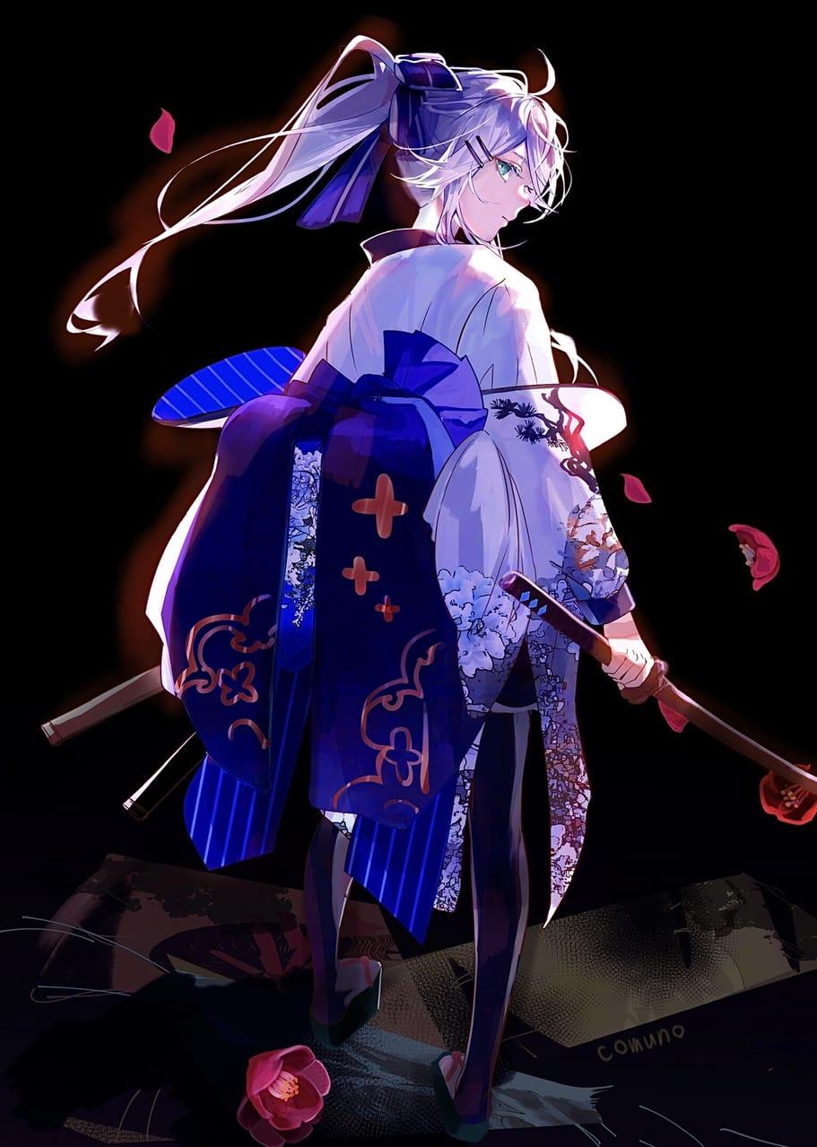 Illust of コムノ twin_ponytails girl white_hair original kimono oc