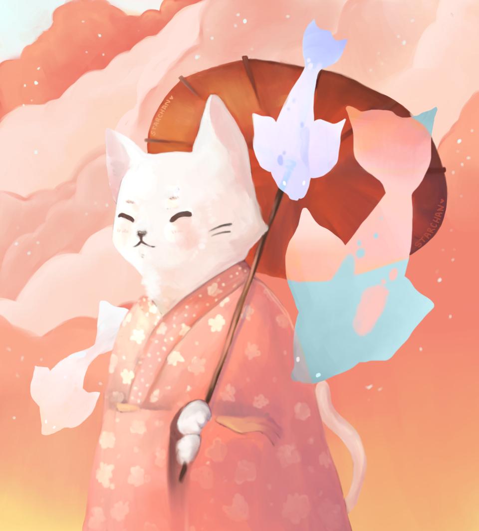Illust of Starchan DOGvsCAT_CAT cat kimono