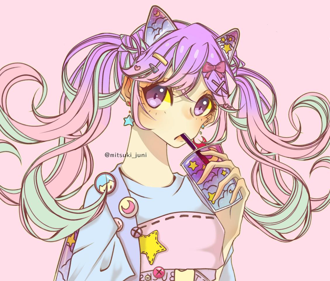 aesthetic purple Illust of ✨🌺mitsukijuni🌺✨ medibangpaint art twin_ponytails pastel digital anime girl aesthetic kawaii