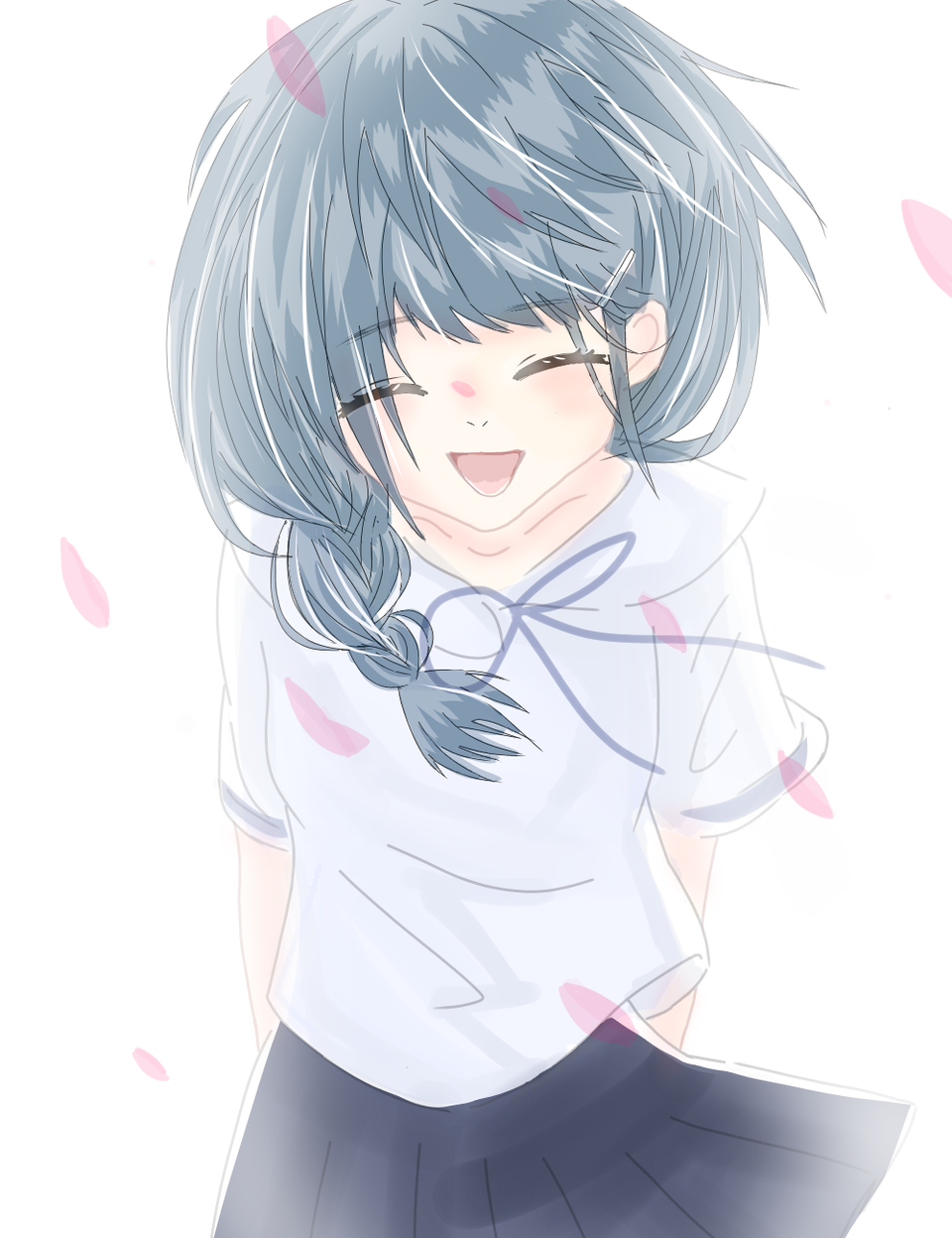 谢谢 Illust of 柒小 medibangpaint 唯美风 新人手绘 蓝色