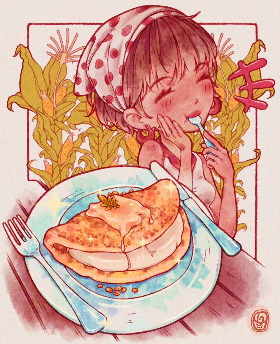 Comidas/Cachapa Illust of Onali ARTstreet_Ranking brag.your.country April.2020Contest:Color food anime animegirl kawaii Drawings