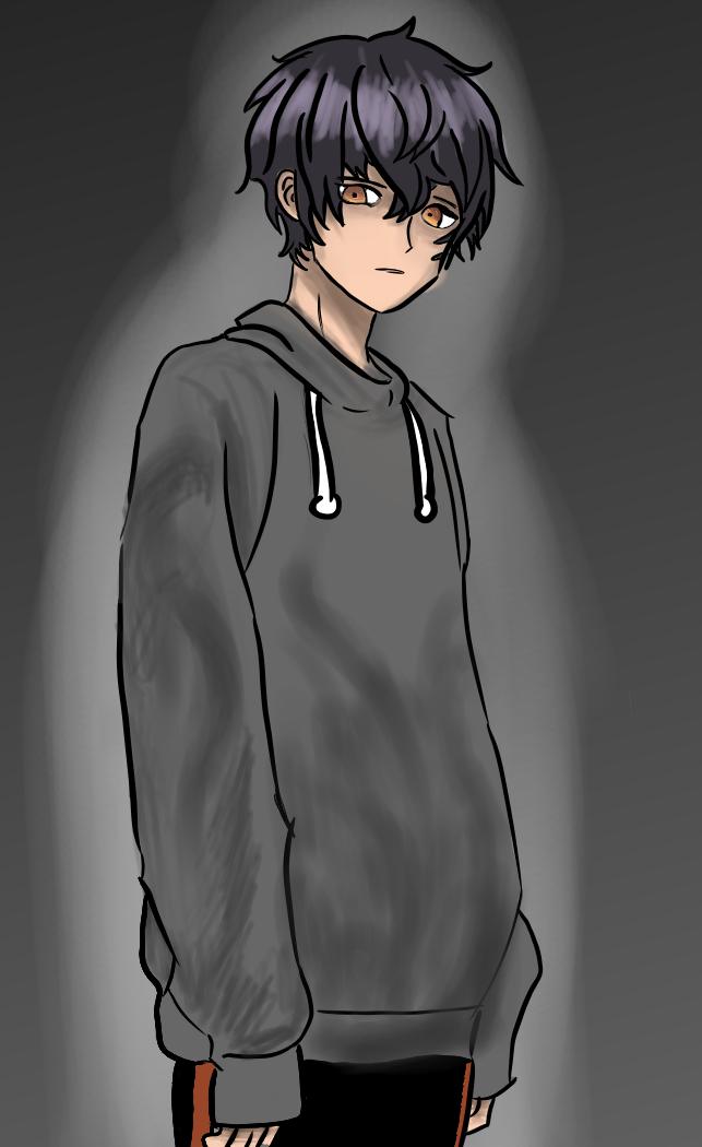 new oc Illust of Boi black hoodie cool medibangpaint creepy