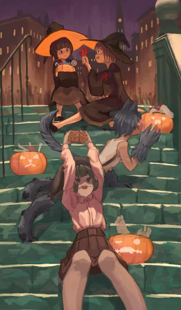 The wrong team Illust of OTHERS Halloween witch zombie girl 人狼