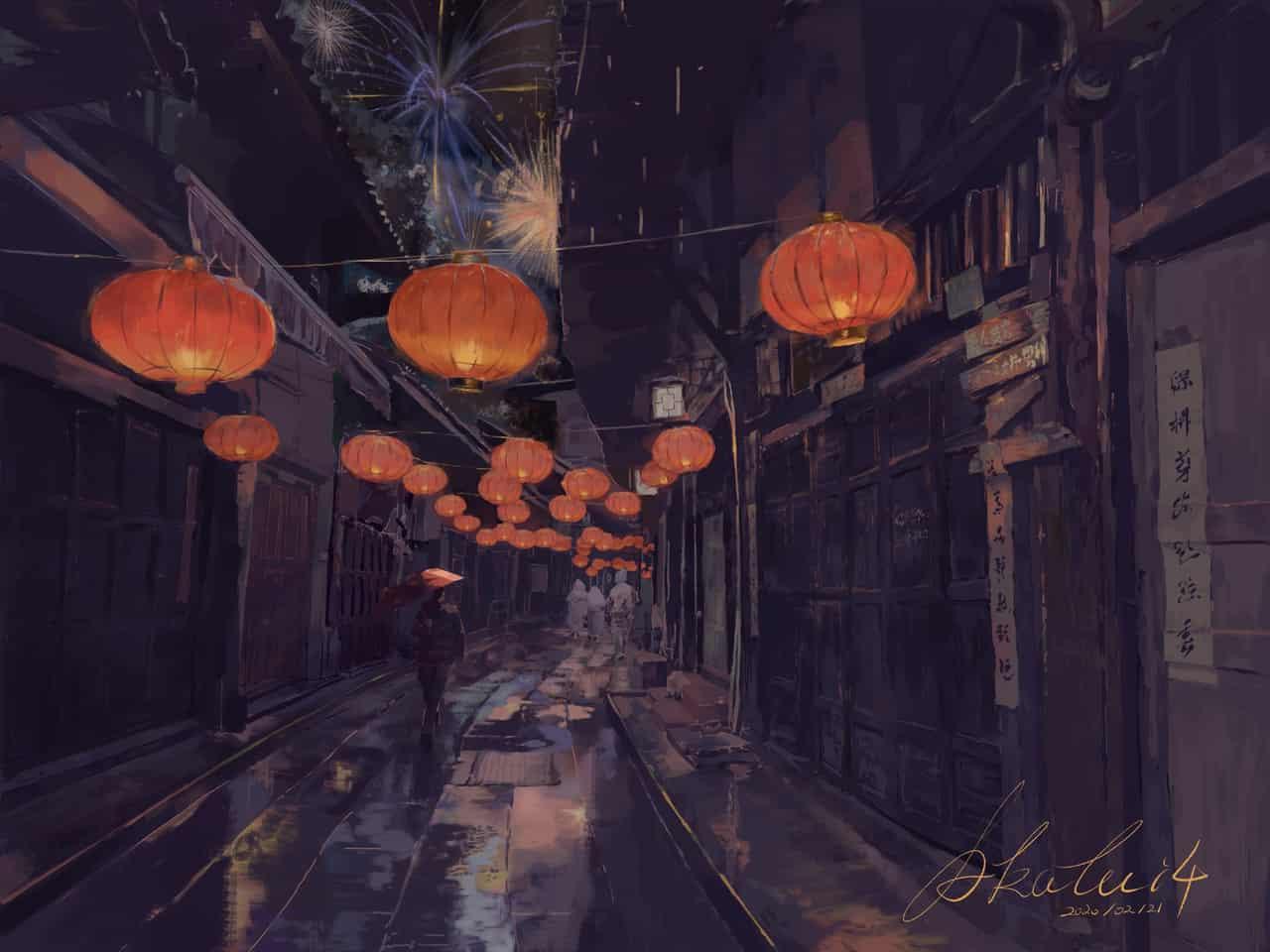 #古街夜景# Illust of 舒十四*akalui 舒十四 original 烟花 akalui scenery 古镇 灯火