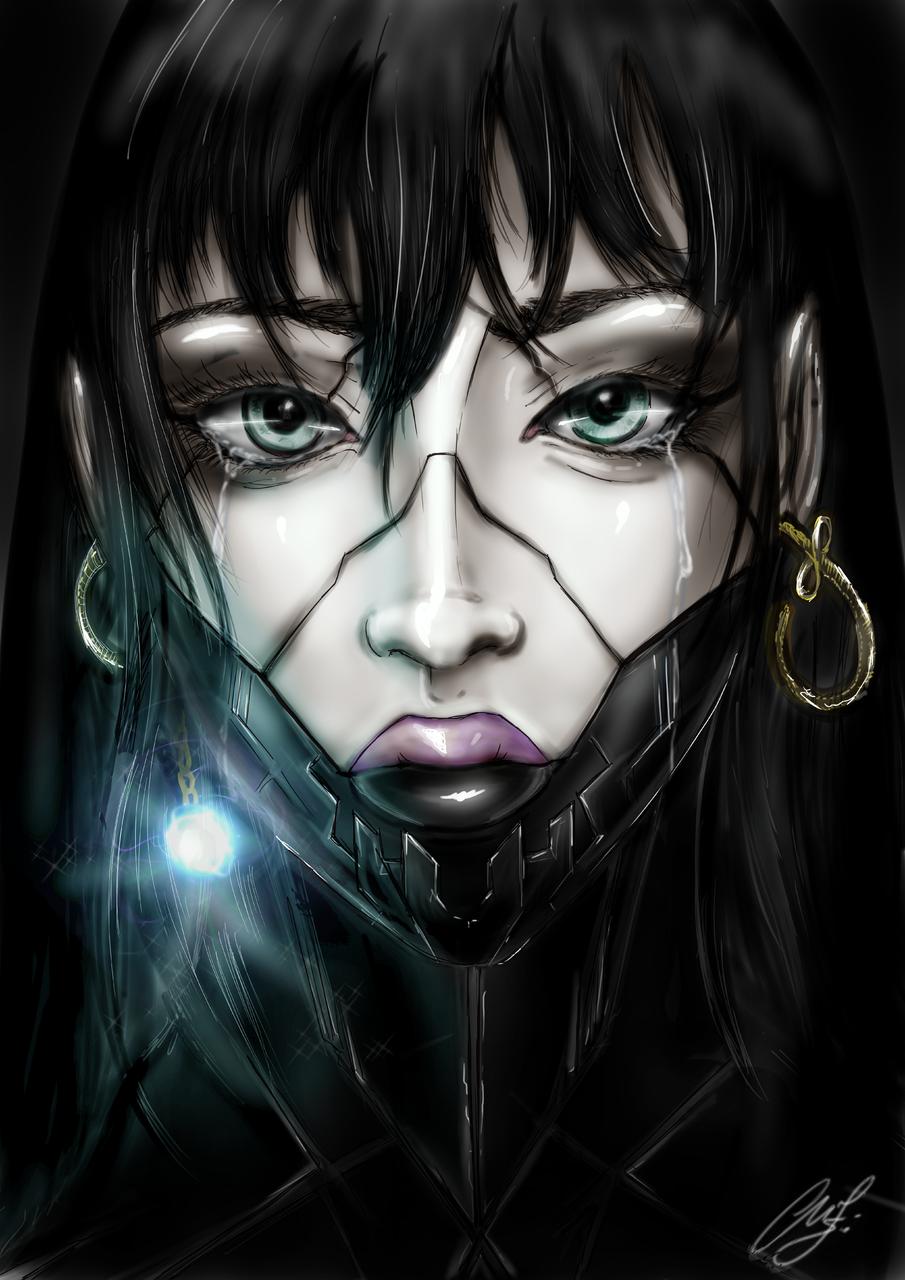 Robogirl Illust of Somachi MF96 horror August2020_Contest:Horror robot bionic girl pain cry light black tears