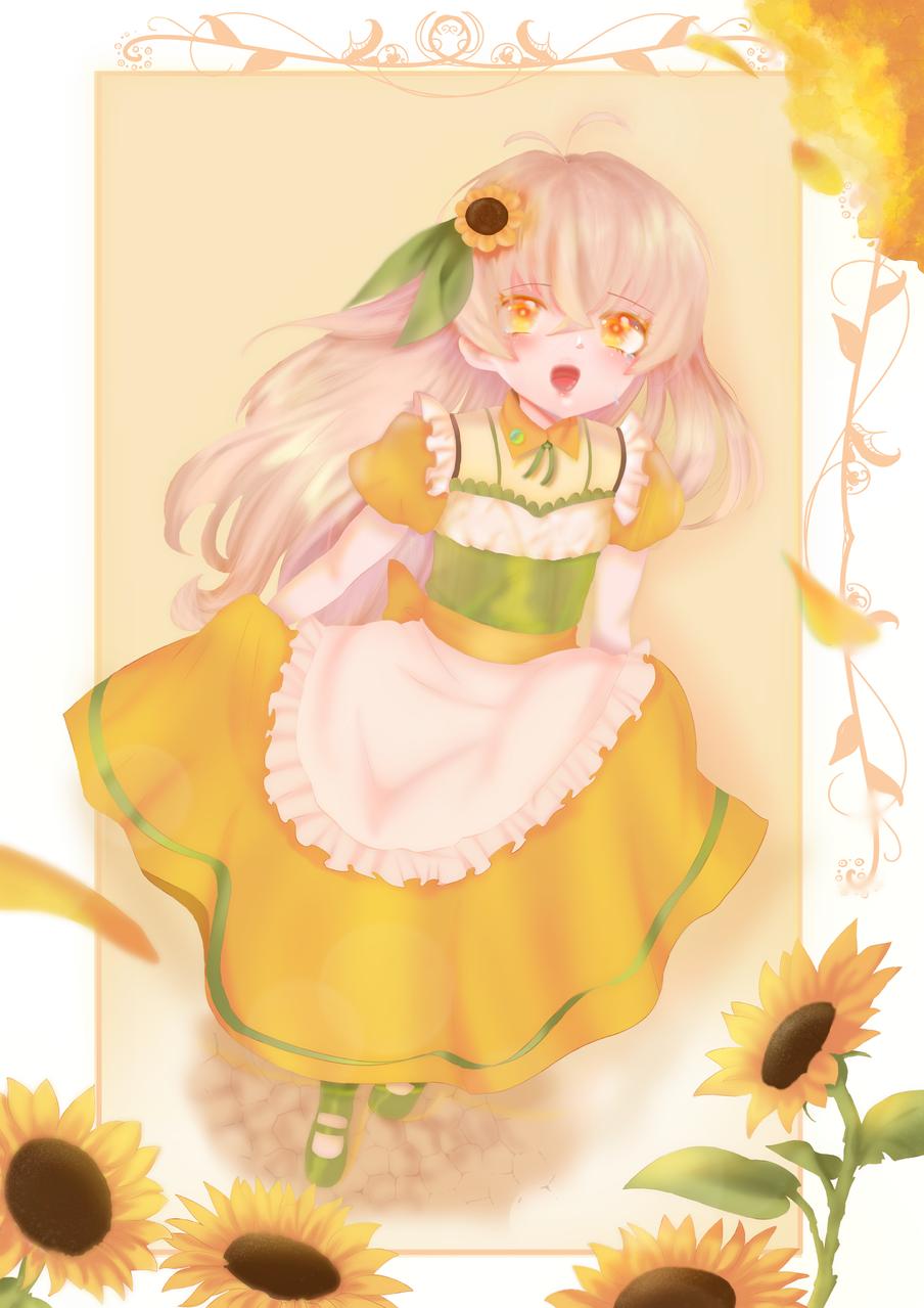 Sunflower  Illust of Eminoa medibangpaint cute thisartshouldlvlup girl flower orange anime collab semirealistic digital