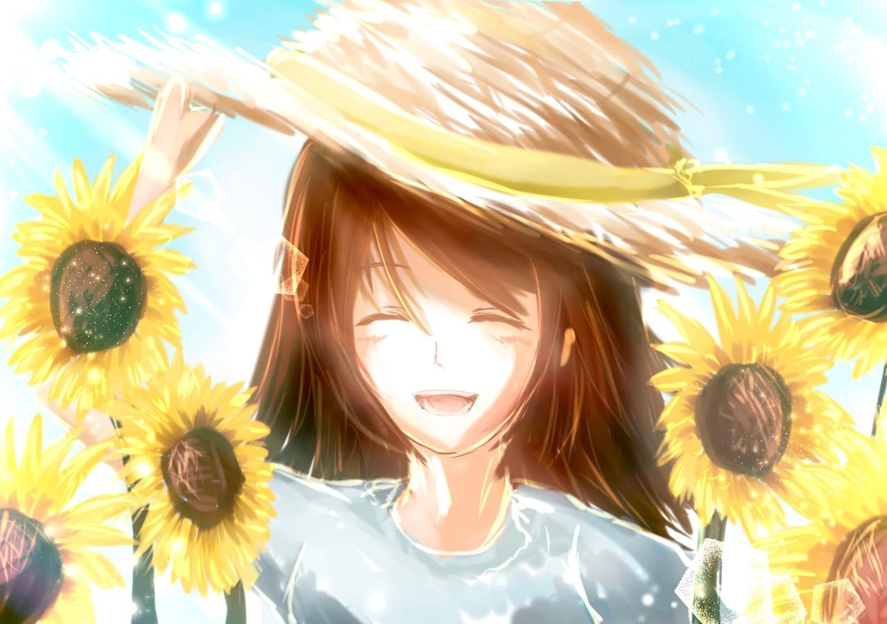 ワンドロ笑顔 Illust of 88里 smile summer ひまわり ワンドロ レッツワンドロ