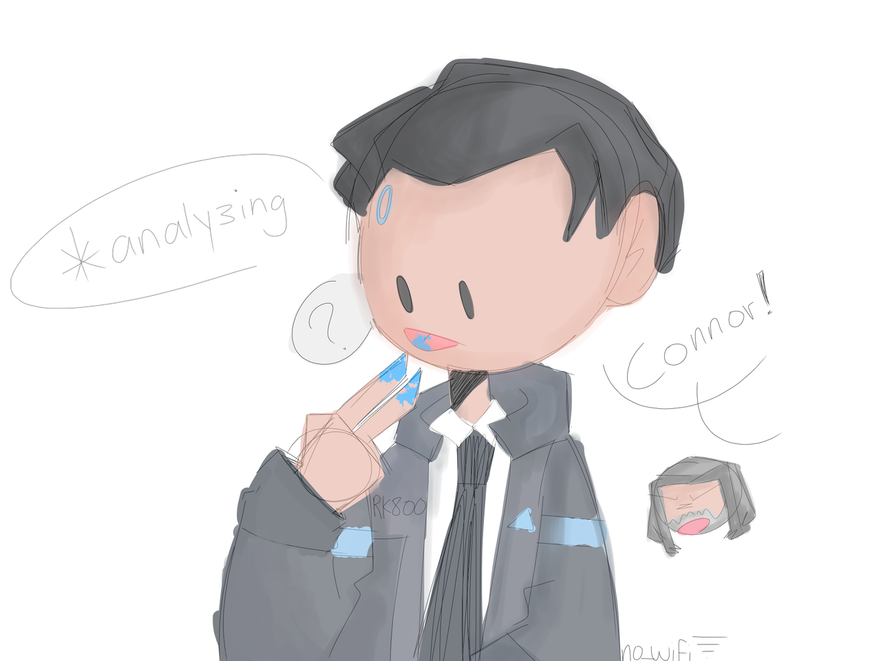 *yeets some art of wholesome android boi Illust of RiiRen medibangpaint Connor Detroitbecomehuman lazy CoNnORnO