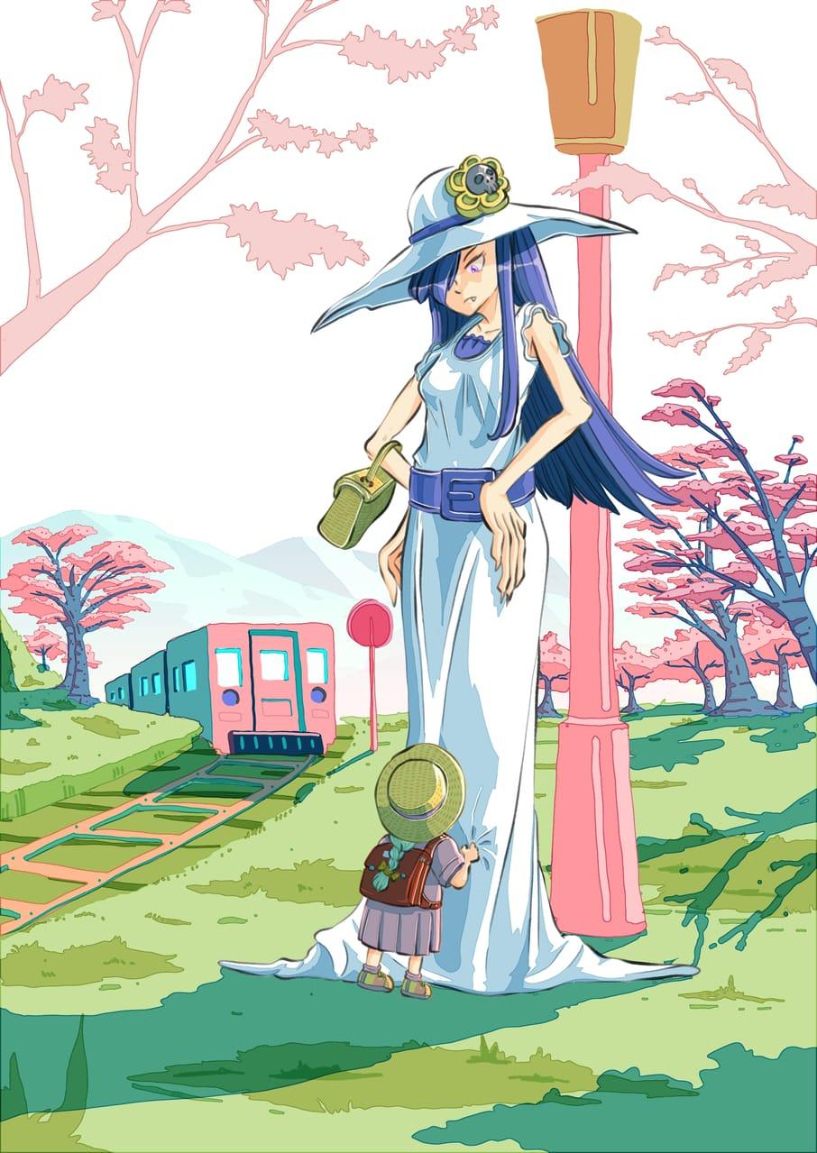 Hashishakusama (8 feet tall lady ) Illust of Wutikai April2021_Flower March2021_Creature girl Japanese_style urbanlegends scenery oc youkai landscapes cutegirl