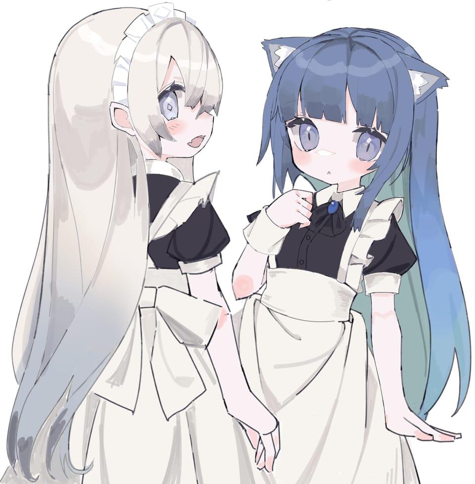 Illust of てるん ケモミミ maid oc illustration girl original
