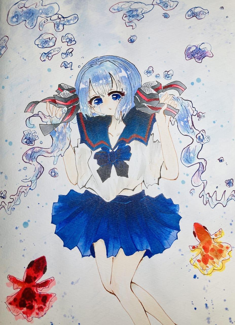 ボトルミク Illust of ラヴィ#アナログ同盟 summer アナログ water hatsunemiku Copic ボトルミク