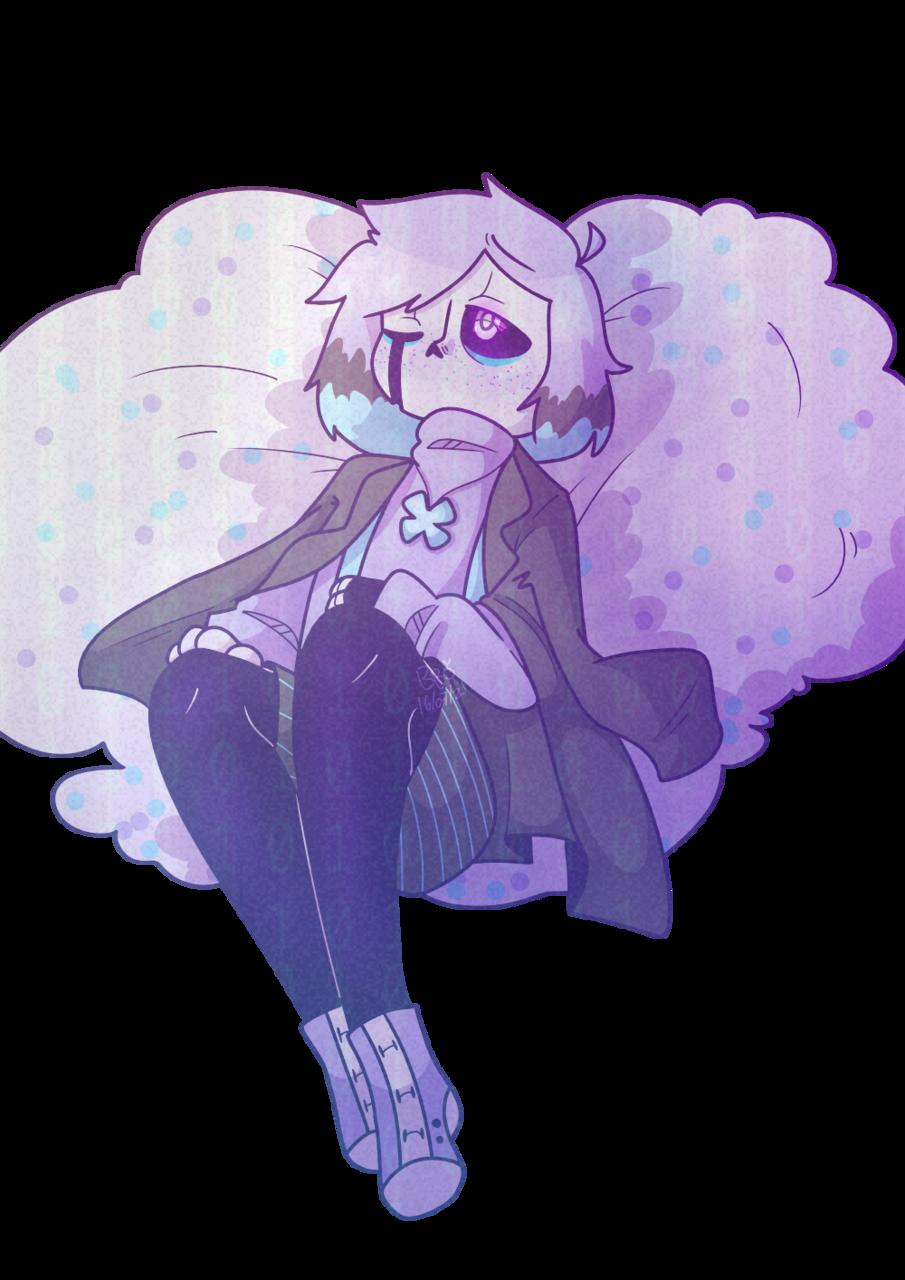 Sleepless nights ~desc~ Illust of BushBabyOrigins medibangpaint lore blue UndertaleAU purple oc starcross cute backstory undertale pastel
