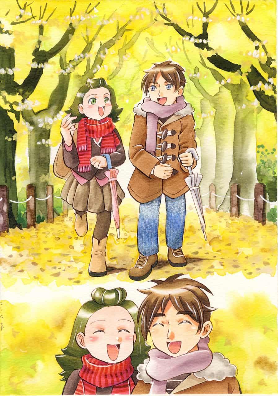 「雨上がりの」晩秋のイチョウ並木
