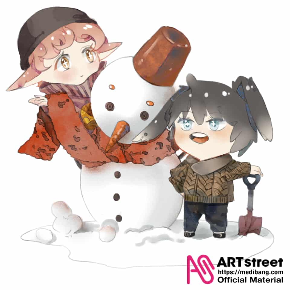 Make a snowman Illust of 元丛丛 tracedrawing Trace&Draw【Official】 winter 冬天