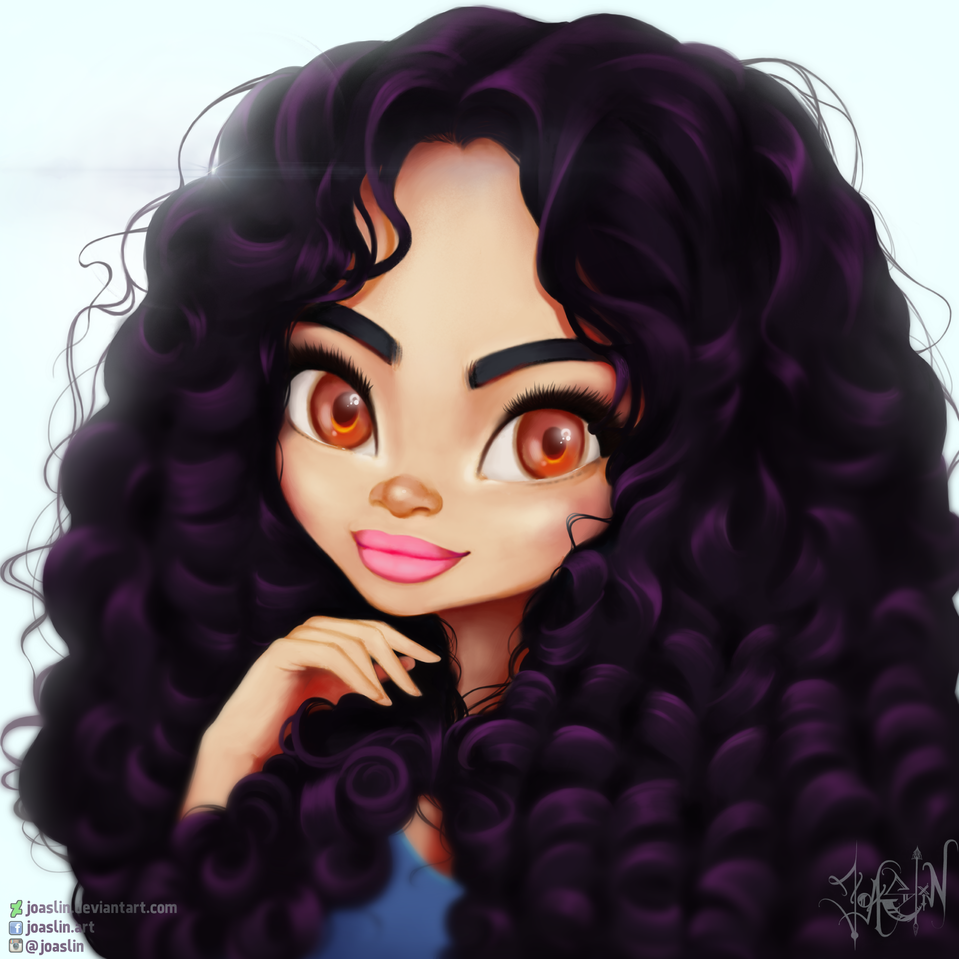 Britt Illust of JoAsLiN art curly girl eyes cute anime illustration hair oc original
