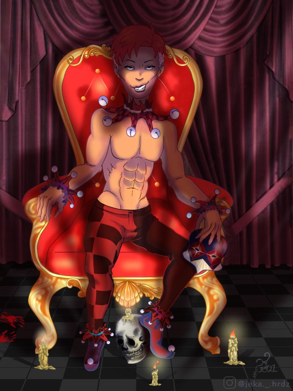 Arlequín Illust of ♡예카♡ MySecretSocietyContest January2021_Contest:OC February2021_Fantasy medibangpaint bufon illustration Antihero red digital dark arlequin black oc