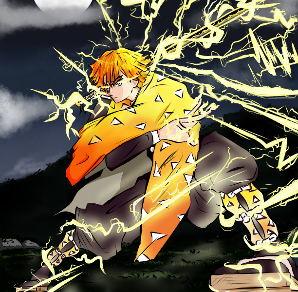 Zenitsu Fanart~~  Illust of Jeshou_nii DemonSlayerFanartContest medibangpaint fanart KimetsunoYaiba digital anime Zenitsu, サムライ8八丸伝 fighting