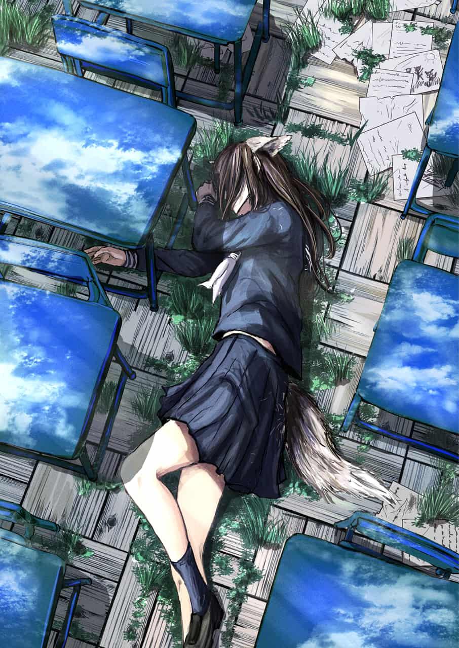 wolf Illust of 2147 school September2020_Contest:Furry sky girl animal_ears wolf