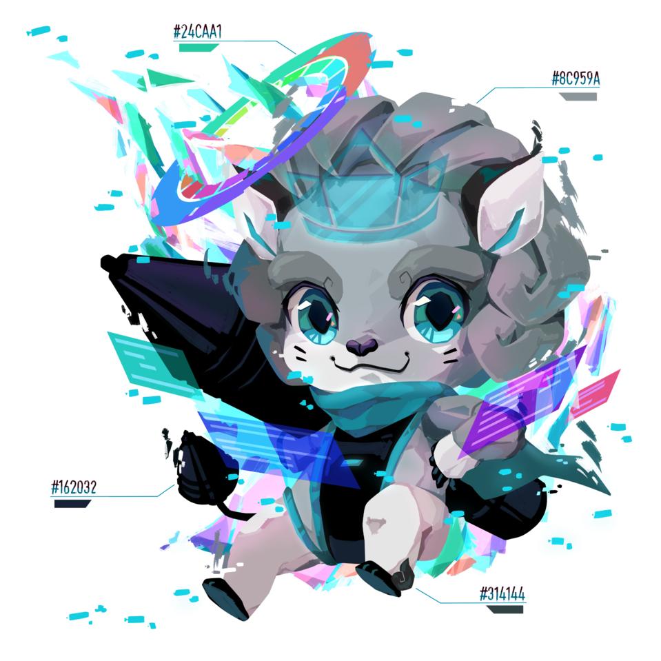 colors of the future Illust of ika.co HuionDesign chibi illustration leon color cute art rainbow digital