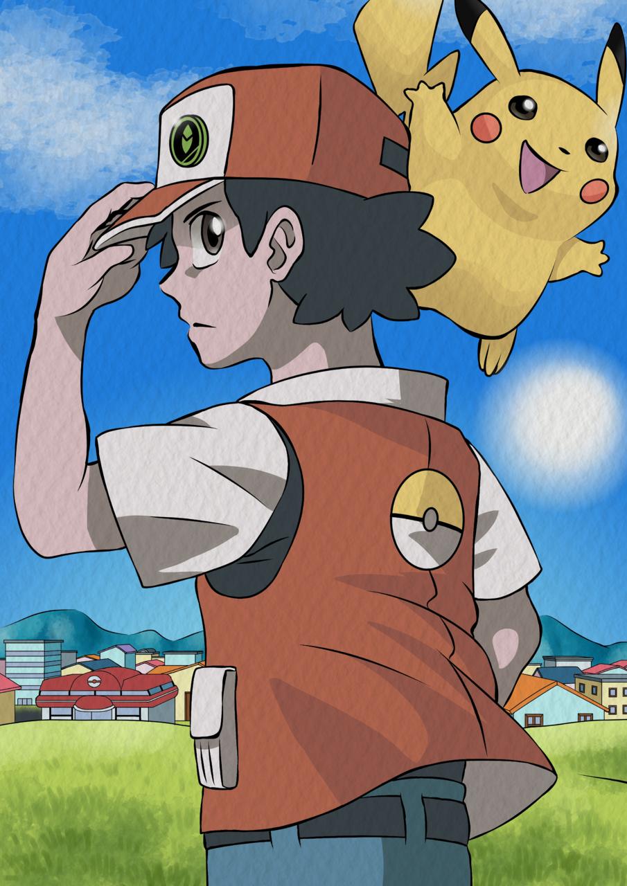 Red(レッド) & Pikachu - Pokémon Illust of Mauricio Martins medibangpaint