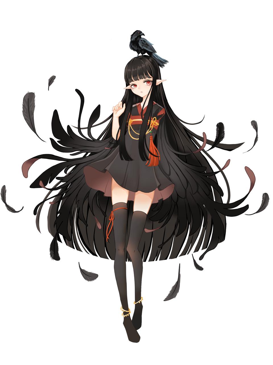 乌鸦 Illust of 血色 彼岸 medibangpaint black girl longhair