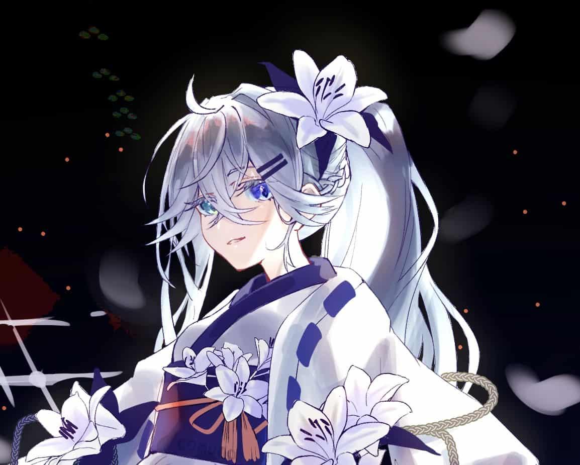 白百合の花 Illust of Comuno / Ningen❸ original kimono flower oc girl white_hair 銀髪